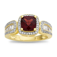 Womens Red Garnet Gold Over Silver Cocktail Ring