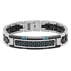 Mens 8.5 Inch Stainless Steel Carbon Fiber ID Bracelet