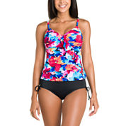 Jamaica Bay® Pretty Pleats Diagonal Ruffle Tankini Or Adjustable Side Brief