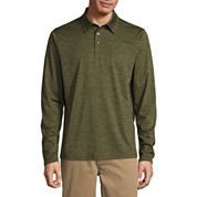 St. John`s Bay Long Sleeve Solid Performance Polo Shirt