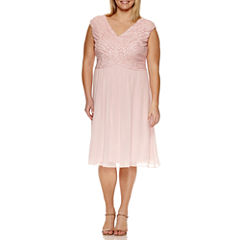 Melrose Sleeveless Beaded Lace Fit & Flare Dress-Plus