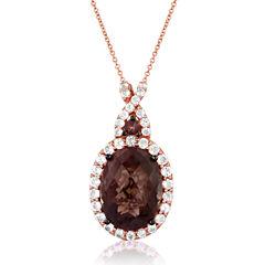 LIMITED QUANTITIES  Le Vian Grand Sample Sale Genuine Brown Quartz and White Topaz Pendant Necklace
