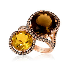 LIMITED QUANTITIES  Le Vian® Grand Sample Sale Genuine Brown Quartz and Citrine 14K Rose Gold Ring