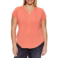 Liz Claiborne Short Sleeve Cap Sleeve Henley Shirt Plus