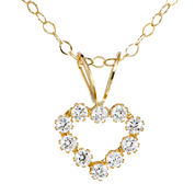 Infinite Gold™ Kids Cubic Zirconia 14K Yellow Gold Heart Pendant Necklace