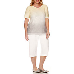 Alfred Dunner® Short-Sleeve Sequin Sweater or Pull-On Capris - Plus