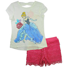 Disney by Okie Dokie 2-pc. Cinderella Short Set Toddler Girls