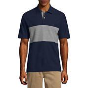 St. John's Bay Easy Care Short Sleeve Stripe Pique Polo Shirt