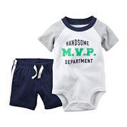 Carter's® 2-pc. Short-Sleeve Polo Bodysuit and Shorts Set - Baby Boys newborn-24m