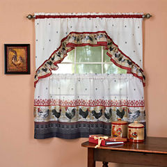 Roosters Rod-Pocket Window Tier and Swag Valance Set