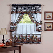 Mason Jars Rod-Pocket Window Tier and Tailored Topper Set