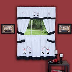 Gourmet Embellished Cottage Rod-Pocket Window Tier & Tailored Topper Set