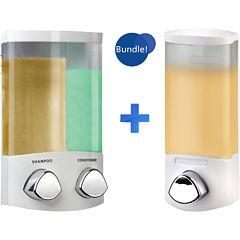 Euro Duo & Uno White Liquid Soap & Shampoo Dispensers