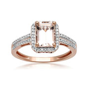 Genuine Morganite and 1/5 CT. T.W. Diamond 10K Rose Gold Ring