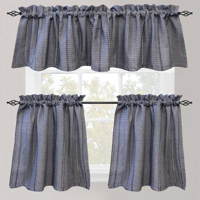 Park B. Smith Eyelet Chambray Rod Pocket Kitchen Curtains