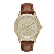 Relic® Womens Crystal Gold-Tone Brown Strap Watch