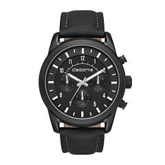Claiborne® Mens Black Leather Strap Watch