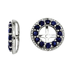 Diamond Accent & Lab-Created Blue Sapphire Sterling Silver Earring Jackets
