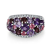 1/10 CT. T.W. Diamond & Multi-Gemstone Sterling Silver Ring