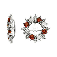 Genuine Garnet Sterling Silver Garnet Earring Jackets