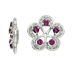 Genuine Purple Rhodolite Garnet and Diamond Accent Earring Jackets