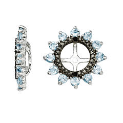 Genuine Aquamarine and Black Sapphire Sterling Silver Earring Jackets