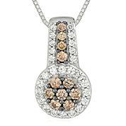 1/2 CT. T.W. Champagne & White Diamond 10K White Gold Pendant Necklace