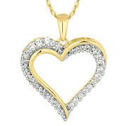 1/4 CT. T.W. Diamond 10K Yellow Gold Heart Pendant Necklace