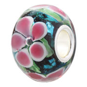 Forever Moments™ Pink and Green Flowers Glass Bead