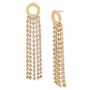 Worthington Circle Rhinestone Chain Drop Earrings