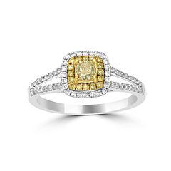 Womens 3/4 CT. T.W. Yellow Diamond 14K Gold Halo Ring