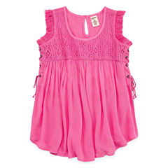 Arizona Knit Gauze Lace-Up Tank Top - Girls' 7-16 and Plus
