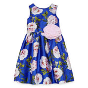 Marmellata Floral Print Dress w/ Flower Applique - Girls' 7-16