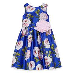 Marmellata Floral Print Dress w/ Flower Applique - Girls' 7-16