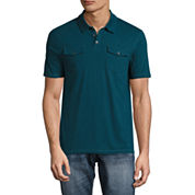Decree Short Sleeve Solid Knit Polo Shirt