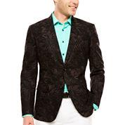 JF J. Ferrar Black Palm Linen Cotton Sport Coat-Slim