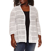 St. John's Bay® 3/4 Sleeve Open Stitch Cardigan - Plus
