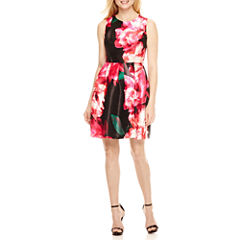 Donna Ricco Sleeveless Floral Fit & Flare Dress-Petites