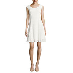 Ronni Nicole Sleeveless Lace Fit & Flare Dress-Petites