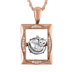Love in Motion Diamond Accent 18K Rose Gold Over Silver Cat Pendant Necklace