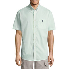 U.S. Polo Assn. Short Sleeve Stretch Poplin Button-Front Shirt