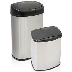Brushed Stainless Steel Motion Activated Touch-Free Sensor Trash Can Set, 2-Pack, 13 Gal and 4 Gal