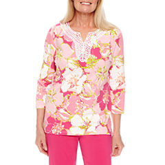 Alfred Dunner Reel It In Floral Tunic Top