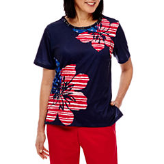 Alfred Dunner Lady Liberty Short Sleeve Floral T-Shirt
