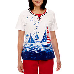 Alfred Dunner Lady Liberty Short Sleeve Sailboat Scenic T-Shirt