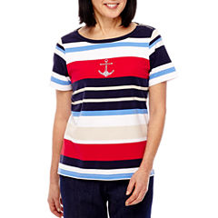 Alfred Dunner Lady Liberty Short Sleeve Stripe Boat Neck T-Shirt