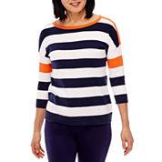 Sag Harbor 3/4 Sleeve Pullover Sweater