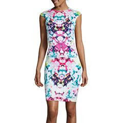 Bisou Bisou® Cap-Sleeve Print Laser Cut Sheath Dress