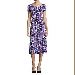 Perceptions Short-Sleeve Square Print A-Line Dress