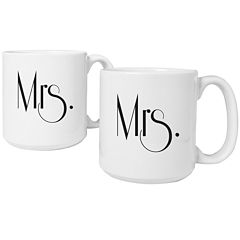 Cathy's Concepts Mrs. & Mrs. Gatsby Set of 2 Large Coffee Mugs
